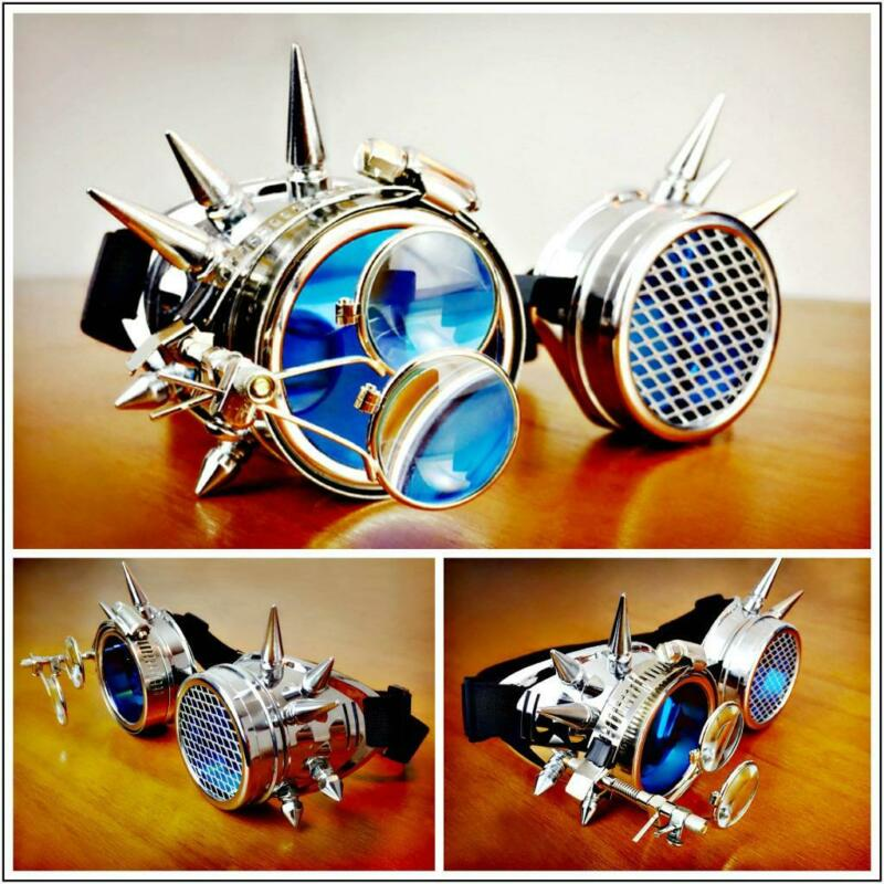 Unique Retro Steampunk Cyber Futuristic Space Goggles Glasses Magnifying Loupe