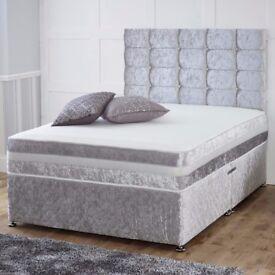 "SPECIAL OFFER !! BRAND NEW CRUSH VELVET DOUBLE DIVAN BED WITH 10"" ROYAL ORTHOPEDIC MATTRESS"