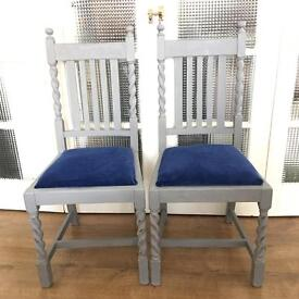 PAIR Vintage CHAIRS SHABBY CHIC FREE DELIVERY LDN🇬🇧