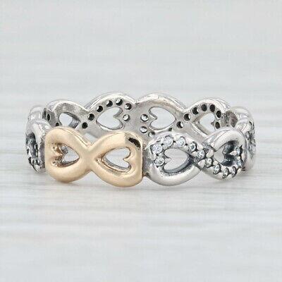 New Authentic Pandora Infinite Love Ring 190948CZ Silver 14k Gold