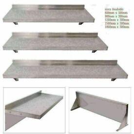 Stainless Steel Wall Shelf Mounted Kitchen Shelves wall Brackets 1200mm x 300mm