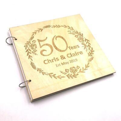 Personalised Large Wooden 50th Anniversary Scrapbook Photo Album Keepsake LWOD-8 (50th Anniversary Photo Album)