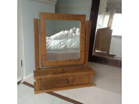 Indigo Furniture Plane Quebec Pine Dressing Table MIRROR unit with drawer