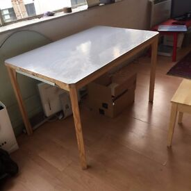 hand painted shabby sheek kitchen table PINE with two drawers