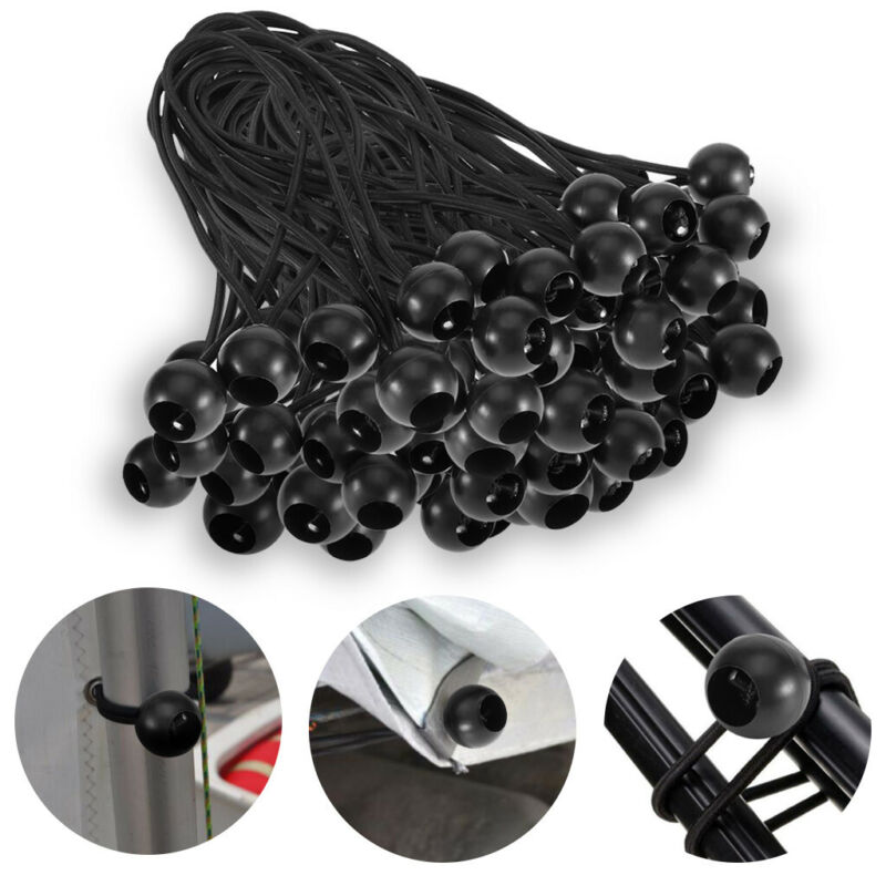 9IN Black 100 Piece 9 Ball Bungee Cord Tie Down Plastic Toggle Balls Straps for Tarp Tents Canopies