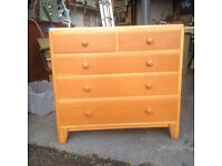 Vintage Solid Oak chest of drawers with vanity mirror