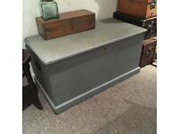 Antique Victorian vintage blanket box ottoman wooden chest