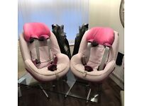 maxi cosi (light pink) pearl child car seat & maxi cosi family fix isofix base (9mouths - 4 years)