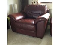 3 piece leather suite and pouffe