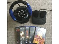 Retro Driving Steering Wheel & Pedals for PS1 PS2 Xbox or Gamecube Games + 5 PS2 Games - Kids Toys