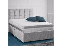 🔰🔰WEEKEND SALE ON NOW🔰🔰 DOUBLE CRUSHED VELVET DIVAN BED BASE WITH DEEP QUILTED MATTRESS