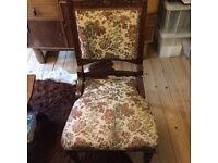 Antique chair with embroidered covering