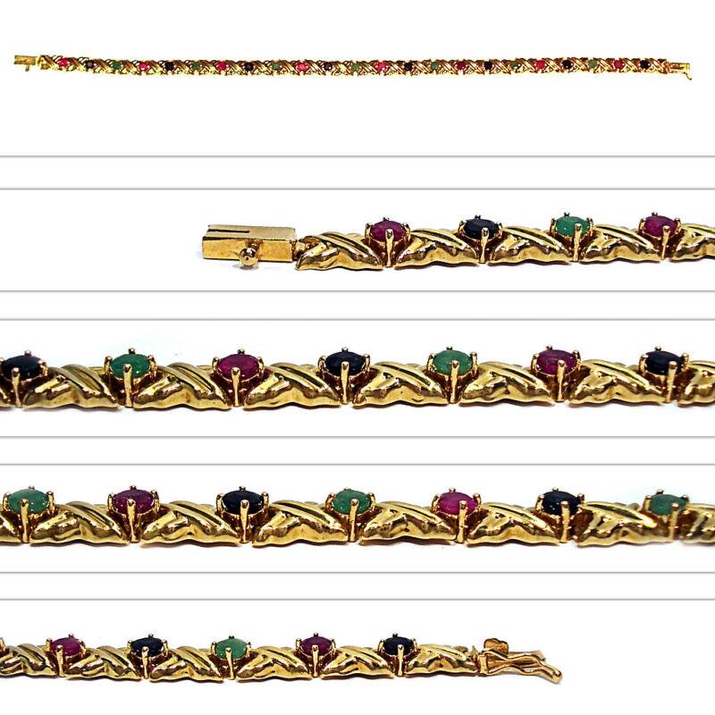 14K YELLOW GOLD EMERALDS, RUBIES, & SAPPHIRES BRACELET