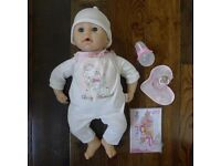 BABY ANNABEL INTERACTIVE CRYING & 'TALKING' DOLL, CHANGE BAG, CLOTHES, BOTTLE ETC