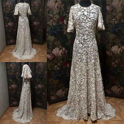 Outstanding Fine Irish Crochet Wedding or Ball Gown with Train, Early 1900's
