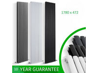 1780 x 472mm White Double Oval Tube Vertical Radiator Brand New