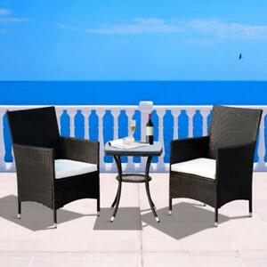 Patio Furniture/ Backyard Set 3 pcs Rattan Coffee Set Garden Furniture All Weather Coffee Table Black