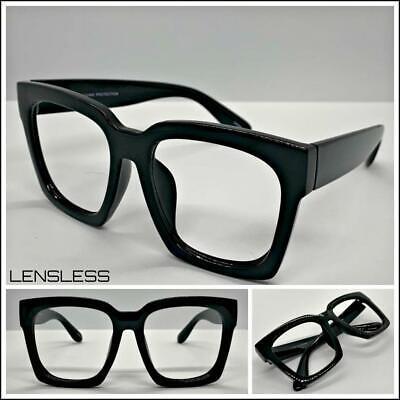 Übergröße Übertriebener Dick Quadratisch Schwarz Glasloses Brillen Rahmen nur No