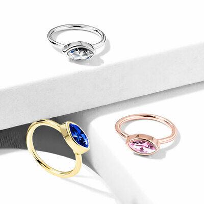 1pc Bendable Nose Hoop / Cartilage Ring Bezel Set Marquise Gem for Rook, (Bezel Nose Ring)