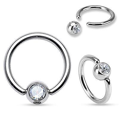 PAIR Clear Gem Captive Bead Rings for Ears, Eyebrow, Septum, Nipple Rings, etc Ear Captive Bead Eyebrow Rings
