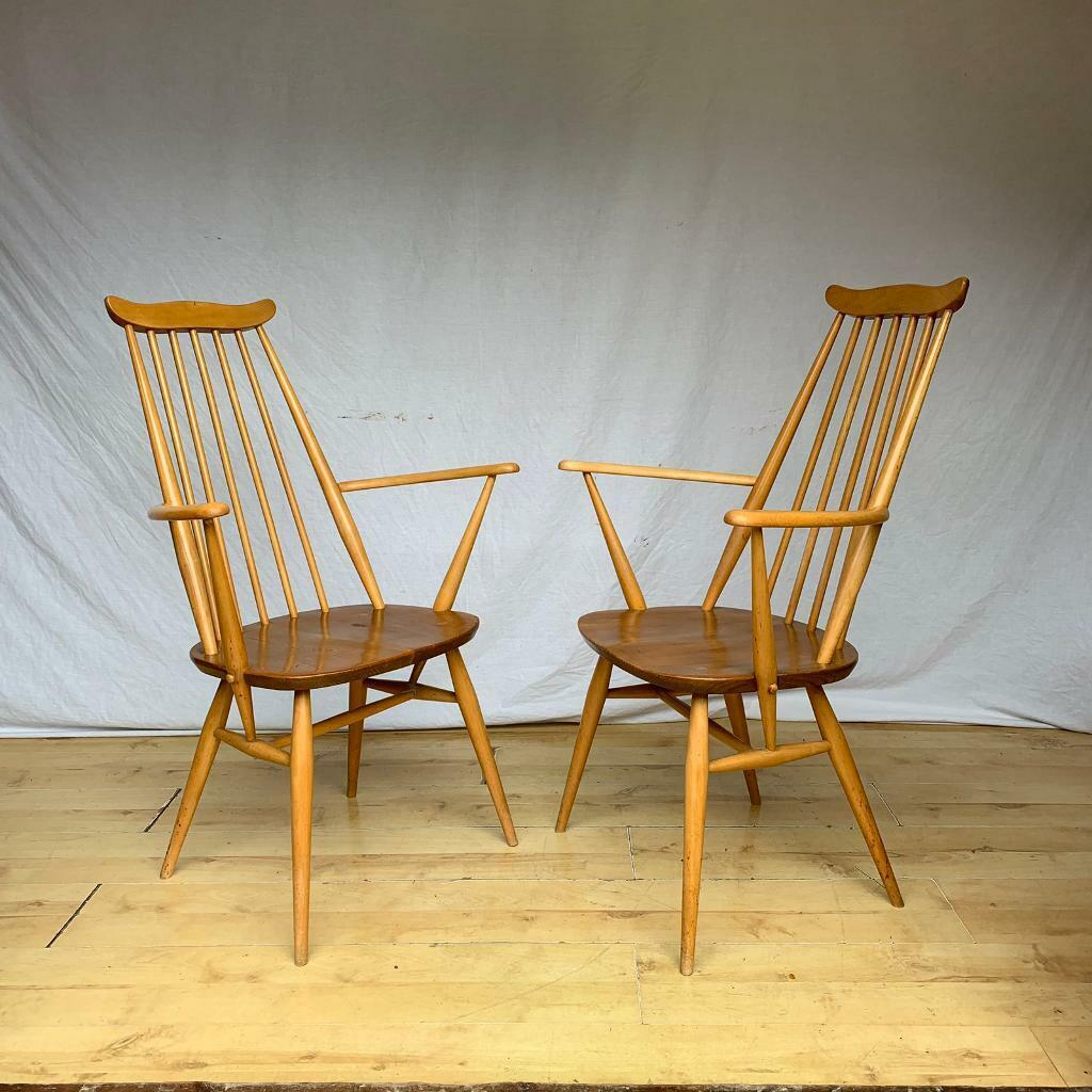 Pair of vintage Ercol Goldsmith carvers armchairs 1960s ...