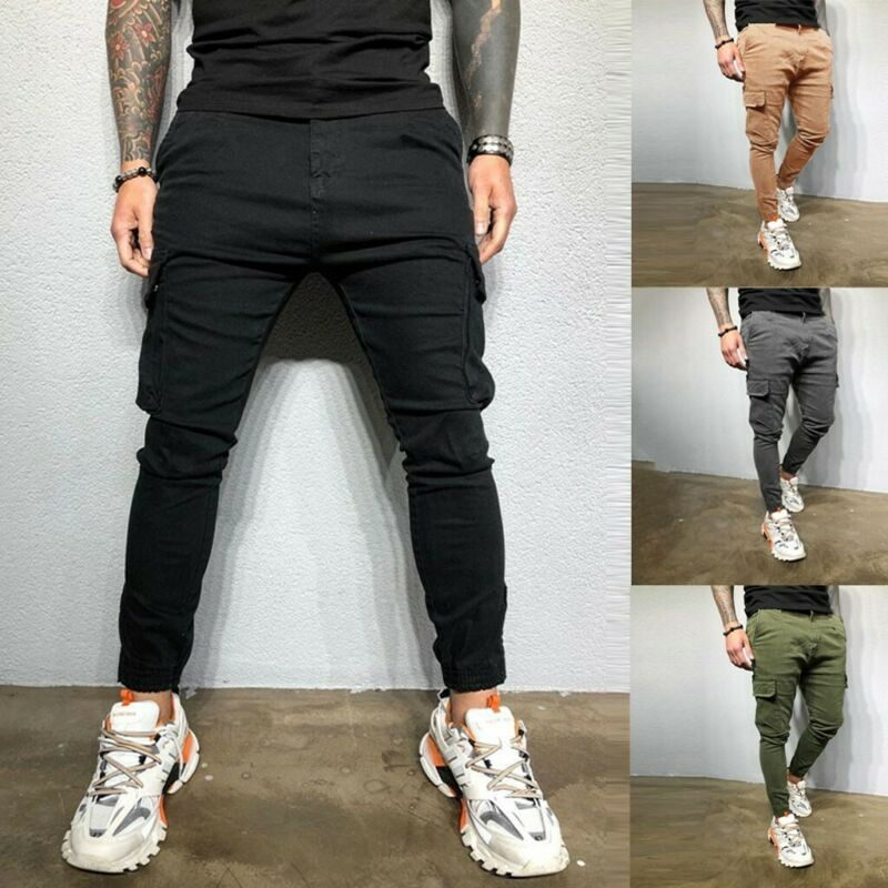 Men's Slim Fit Fashion Urban Straight Leg Trousers Pencil Jo