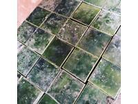 Small glazed green fireplace / floor tiles reclaimed