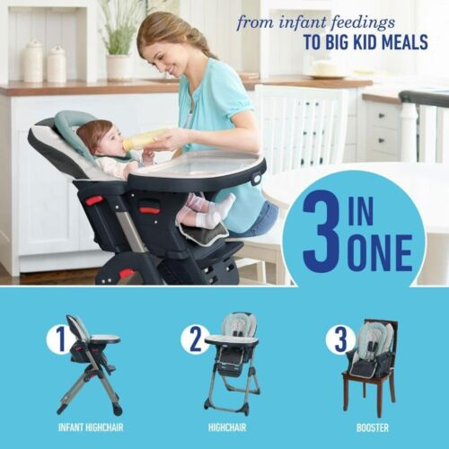 3 In 1 Highchair Booster Infant Toddler Seat Safety Feeding Adjustable Footrest