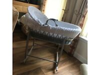 Clair de Lune Moses basket with Deluxe Rocking Stand RRP £100