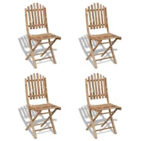 Foldable Outdoor Chairs Bamboo 4 pcs-271715