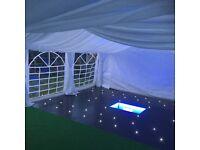 Marquee 8m x 5m + roof/leg curtain linings, matting, ground bars & dance floor