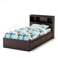 Twin Bookcase headboard and bed frame with drawers