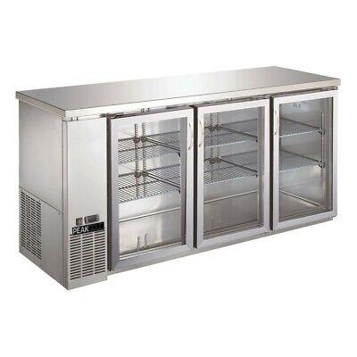 Peakcold Triple Glass Door Commercial Back Bar Cooler Stainless Steel - 72