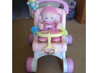 Fisher price baby walker/doll pushchair, and doll.
