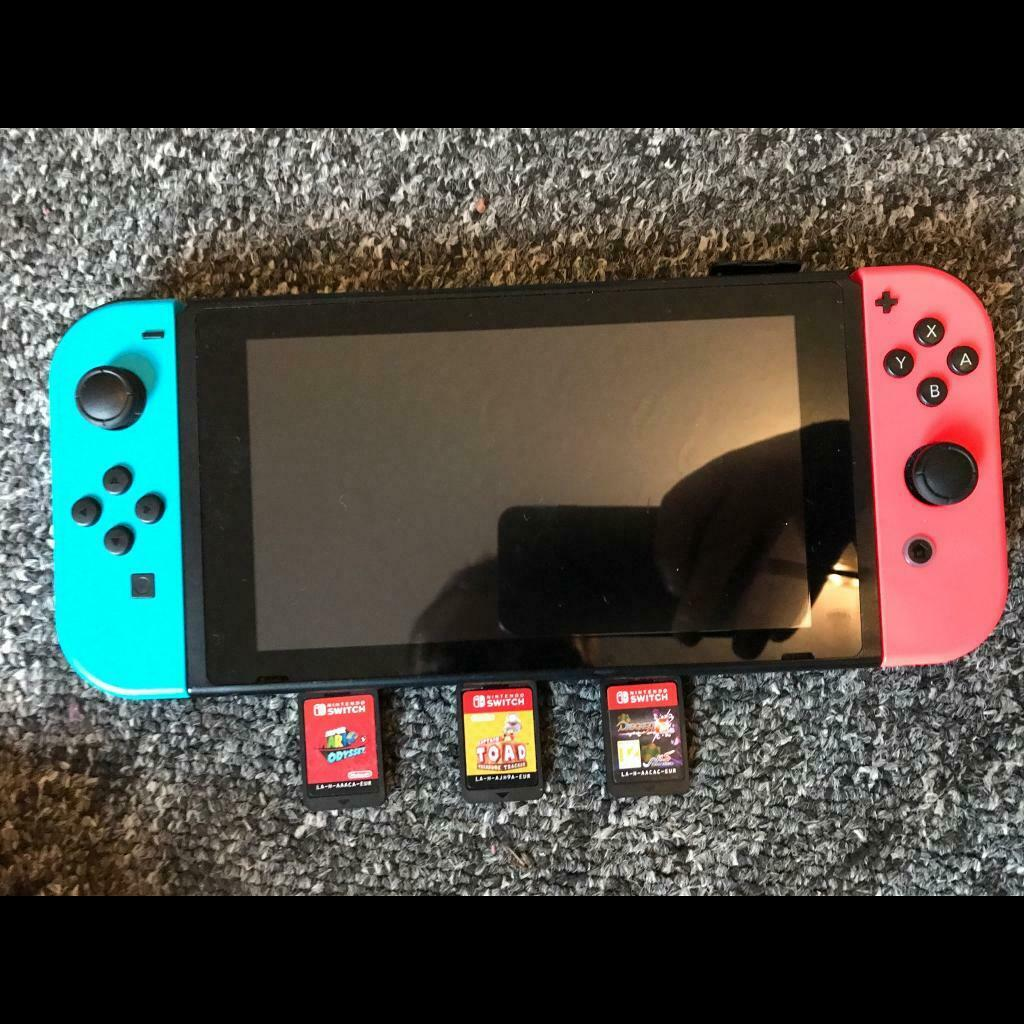 Nintendo Switch console  Used with 3 games and a wired controller    in  Sherwood, Nottinghamshire   Gumtree