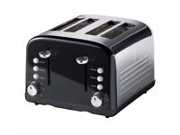 NEW STYLISH STAINLESS STEEL 4 SLICE TOASTER JUST £19.99