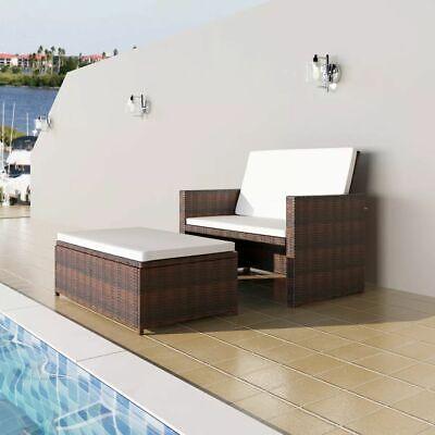 vidaXL 5 Piece Garden Sofa Set Poly Rattan Wicker Brown Outdoor 2 Seater (Steel 2 Seater)
