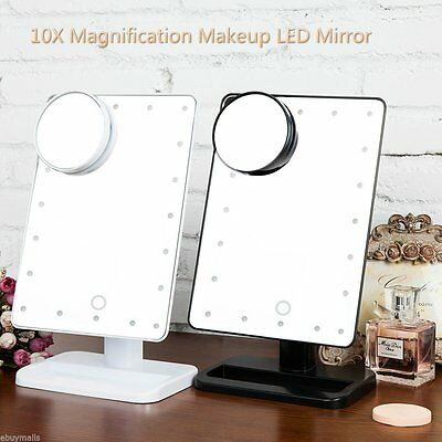 10X Magnifying Touch Screen 20 LED Light Vanity Make-up Cosmetic Tabletop Mirror