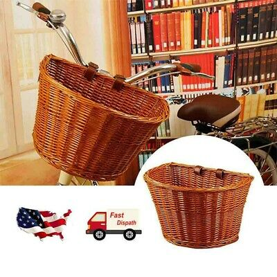 Durable Vintage Wicker Bicycle Basket Leather Look Straps Bike Cycle Shopping
