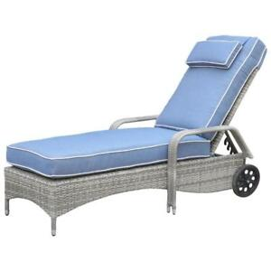 Lioni HY1108SBLU Elba Contemporary Patio Chaise Lounge with Back Wheels  Blue (New other)
