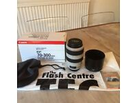 Canon EF 70-300mm F 4-5.6 IS L Series USM Lens (+hood, caps, filter, bag + box)
