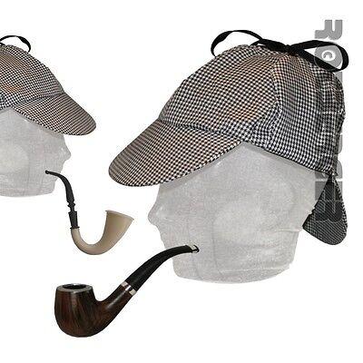 Sherlock Holmes Hut Deerstalker mit/ohne Pfeife Detektiv Kostüm Zubehör - Sherlock Holmes Hut Kostüm