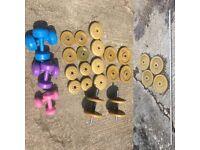 Assorted York Weights, Bars & Eurotrim Dumbells
