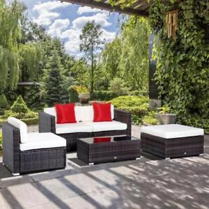 Patio Furniture / Garden 5 pcs Outdoor Modular Rattan Wicker Sofa Set Garden Sectional Patio Furniture with Table