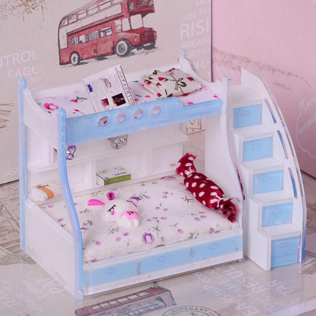 1/12 Dollhouse Miniature Furniture Bunk Bed Double Bunk Bedroom Accessory #3