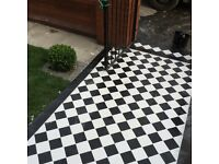 Decking paving fencing stone flags grass turf