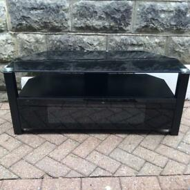 Black TV Table with Glass Top and Door