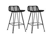 Bar Chairs 2 pcs Black Rattan-285233