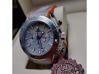 New blue white grey orange canvas rubber bracelet Omega Seamaster 600 with chronograph stopwatch