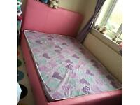 Pink Leather effect double bed with mattress. Brilliant condition